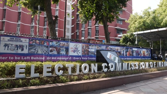A view of the Election Commission of India building, Nirvachan Sadan, in New Delhi.( Arvind Yadav / Hindustan Times)