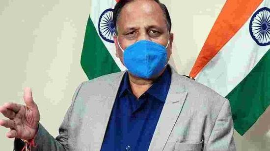 Delhi Health Minister Satyendar Jain speaks to media during a press conference. (ANI Photo)