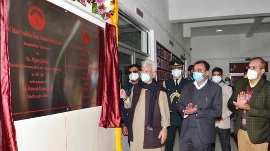 J&K L-G Manoj Sinha inaugurates Shri Mata Vaishno Devi Shrine Board's hi-tech call centre in Katra on January 14. (Sourced)