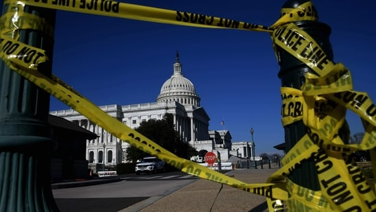 Police tape is seen at the US Capitol in Washington, DC, January 14, 2021, ahead of next week�s presidential inauguration of Joe Biden. (Photo by Olivier DOULIERY / AFP)(AFP)