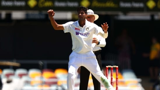 India's Washington Sundar reacts after bowling on day one of the fourth cricket Test match between Australia and India at the Gabba in Brisbane(AFP)