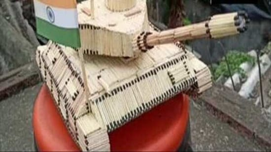 On the occasion of Army Day, an artist has prepared a model of an Indian army tank using 2,256 matchsticks on Friday.(ANI)