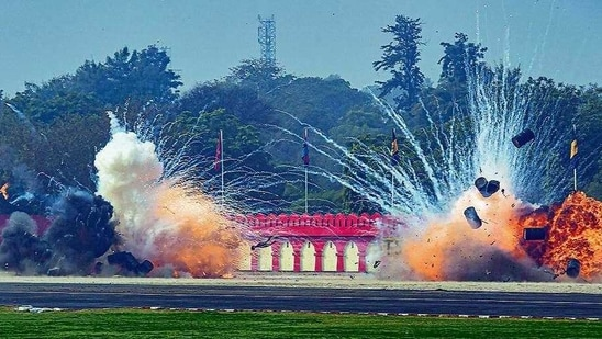 Army soldiers demonstrate a drone attack during the 73rd Army Day parade, in New Delhi on Friday.