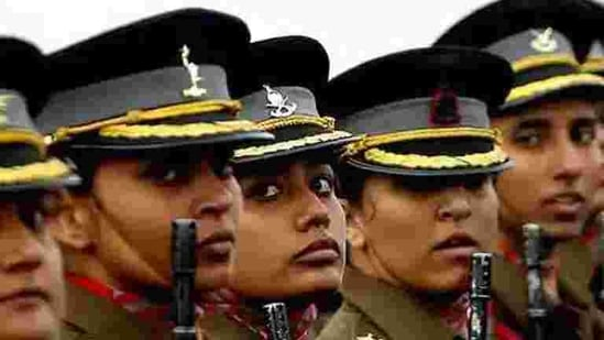 Female Indian Army officers march during the Army Day parade in New Delhi.(HT file photo)