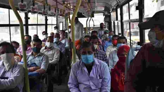 The decision to induct 1,000 new buses in the DTC fleet was approved by the DTC board, chaired by transport minister Kailash Gehlot,on January 6.(Raj K Raj / HT PHOTO)
