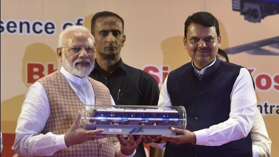 Indian Prime Minister Narendra Modi and then Maharashtra state CM Devendra Fadnavis inaugurated of the first coach for Mumbai Metro built under the 'Make in India' program, and three Metro lines, on September 7, 2019. (Kunal Patil/HT Photo)