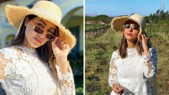 Hina Khan is a vision in white sheer lace dress(Instagram/realhinakhan)