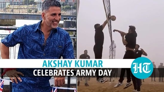 Army Day: Akshay Kumar flags off marathon, plays volleyball with soldiers