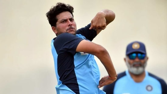 Kuldeep Yadav bowling in the nets. (Getty Images)
