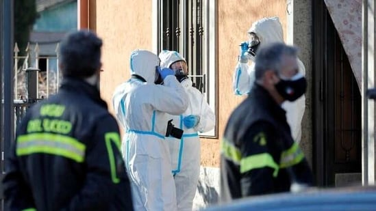 Firefighters talk outside a care home, where at least five people have died in a suspected monoxide poisoning accident, in Lanuvio, Italy, January 16, 2021. REUTERS/Remo Casilli(REUTERS)