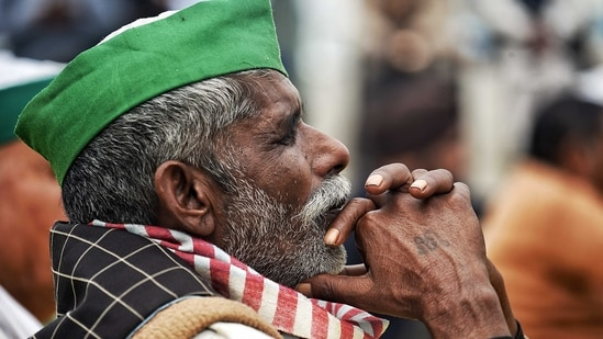 A farmer sitting during an ongoing farmer's protest against the new farm laws, at the Delhi-Ghazipur border in New Delhi.