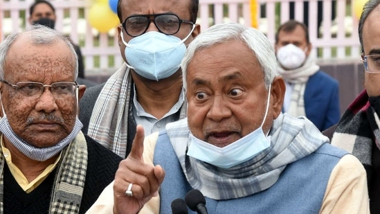 """""""Please do not mix up the issues of development and crime,"""" Nitish Kumar said and then snapped when reporters persisted.(ANI)"""