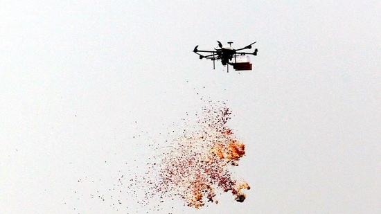 Drones shower flowers during the Army Day Parade, at Cariappa Parade Ground in New Delhi on Friday. (ANI Photo)