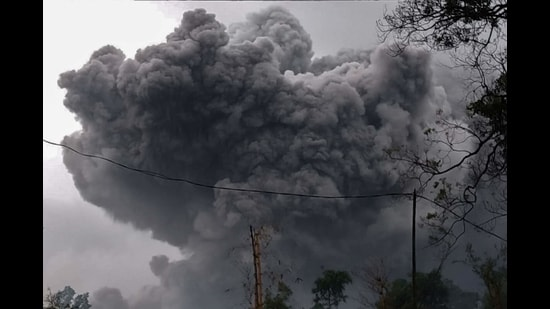 This handout photo taken and released on January 16, 2021 by the Indonesian National Board for Disaster Management (BNPB) shows Mount Semeru spewing ash during an eruption in Lumajang, East Java. (AFP)