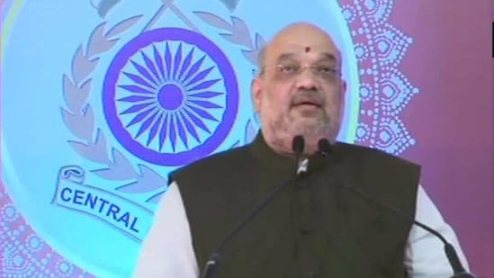 Shah applauded the healthcare sector for preparing the infrastructure to test and treat affected people in a short period of time at the foundation stone laying ceremony of a campus for the newly-raised battalion of Central Reserve Police Force's (CRPF's) Rapid Action Force (RAF) at Karnataka's Bhadravathi. (ANI/Twitter)