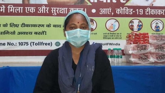 Marium Gudia, a sanitation worker, was the first to get Covid-19 vaccine at Ranchi Sadar Hospital in Jharkhand.