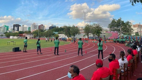 The inauguration ceremony for the Ekuveni synthetic running track in Male was attended by President Ibrahim Solih. The groundbreaking for the project was done in November during the visit of foreign secretary Harsh Shringla. (Indian High Commission in the Maldives).