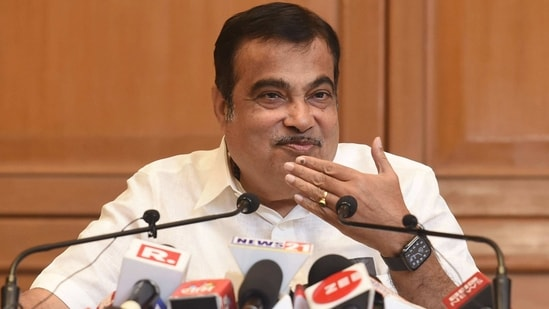 Union Minister for Road Transport & Highways and Micro, Small and Medium Enterprises Nitin Gadkari interacts with media after a meeting on the ongoing projects in Maharashtra, in Mumbai.(PTI)
