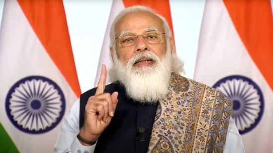 """""""India is one of the largest ecosystems in the world. Today, more than 41,000 startups are engaged in India and involved in different types of initiatives.""""PM Modi said.(PTI)"""