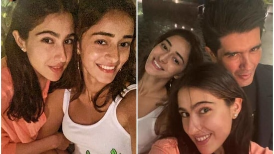 Sara Ali Khan, Ananya Panday posed with Manish Malhotra at Karan Johar's residence.
