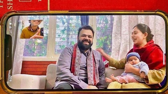 In his 30s, he chatted on WhatsApp video from his drawing room in Jangpura, in company with wife, Anam, and 3-month-old daughter, Rumi, who keeps the couple awake the whole night long.