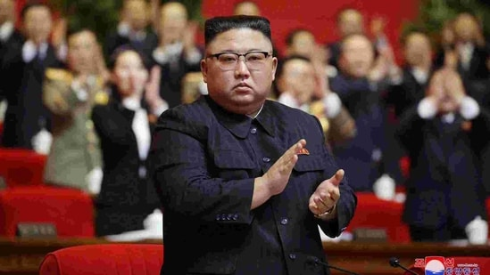 In this photo provided by the North Korean government, North Korean leader Kim Jong Un claps his hands at the ruling party congress in Pyongyang, North Korea. (AP)