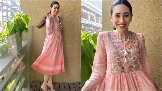 Karisma Kapoor rocks work from home fashion in a romantic pink midi dress(Instagram/therealkarismakapoor)