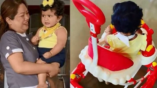 Shilpa Shetty's daughter Samisha is learning to walk these days.
