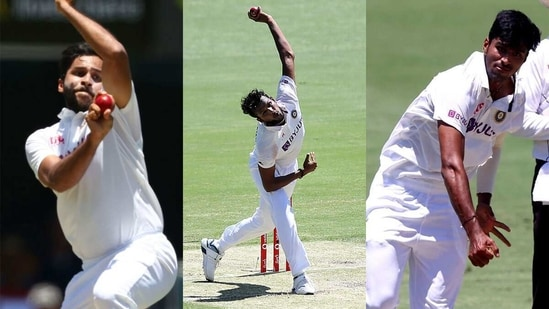 (L-R) Shardul Thakur, T Natarajan and Washington Sundar. (Getty Images)
