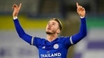 Leicester's James Maddison celebrates after scoring the opening goal during the English Premier League soccer match between Leicester City and Southampton at the King Power Stadium.(AP)
