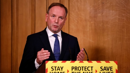 Britain's Chief Executive of the National Health Service Simon Stevens at a virtual news conference on the Covid-19 pandemic.(REUTERS)