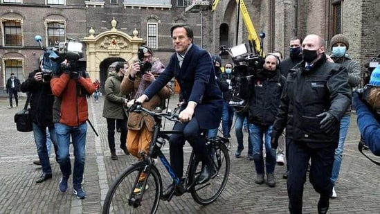 Dutch Prime Minister Mark Rutte leaves the Parliament building in The Hague, Netherlands.(REUTERS)