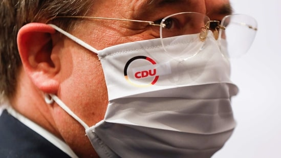 The new elected Christian Democratic Union (CDU) party leader Armin Laschet wears a face mask with the CDU logo, at the end of the party's 33rd congress held online amidst the coronavirus disease (Covid-19) pandemic, in Berlin, Germany.(Reuters)