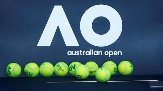 File photo of Tennis balls are pictured in front of the Australian Open logo before the tennis tournament. (REUTERS)