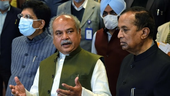 Union Agriculture Minister Narendra Singh Tomar addresses a press conference after meeting with Farmers Union leaders on farm laws, at Vigyan Bhawan in New Delhi on Friday. Union Ministers Piyush Goyal and Som Prakash also present. (ANI Photo)