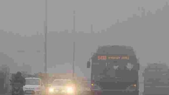 Traffic moves slowly through a dense fog in New Delhi. Cold wave conditions continued across North India claiming 165 lives this winter. AFP PHOTO / Prakash Singh