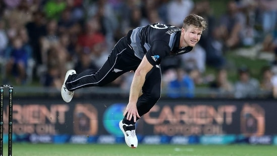 New Zealand's paceman James Neesham bowls during the third T20 cricket match between New Zealand and Pakistan at McLean Park in Napier on December 22, 2020.