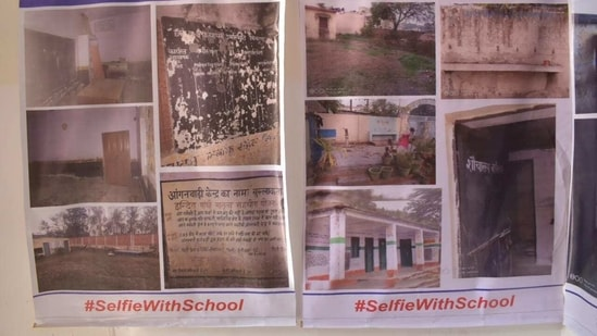 """Photographs of Uttarakhand government schools put up by AAP during a photo exhibition under """"selfie with school campaign"""" in Dehradun.(HT PHOTO)"""