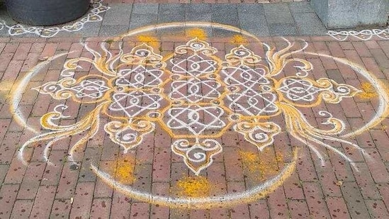 More than 1,800 individuals from across the US and many from India participated in the online initiative to create thousands of kolam designs to celebrate the historic event.(PTI)