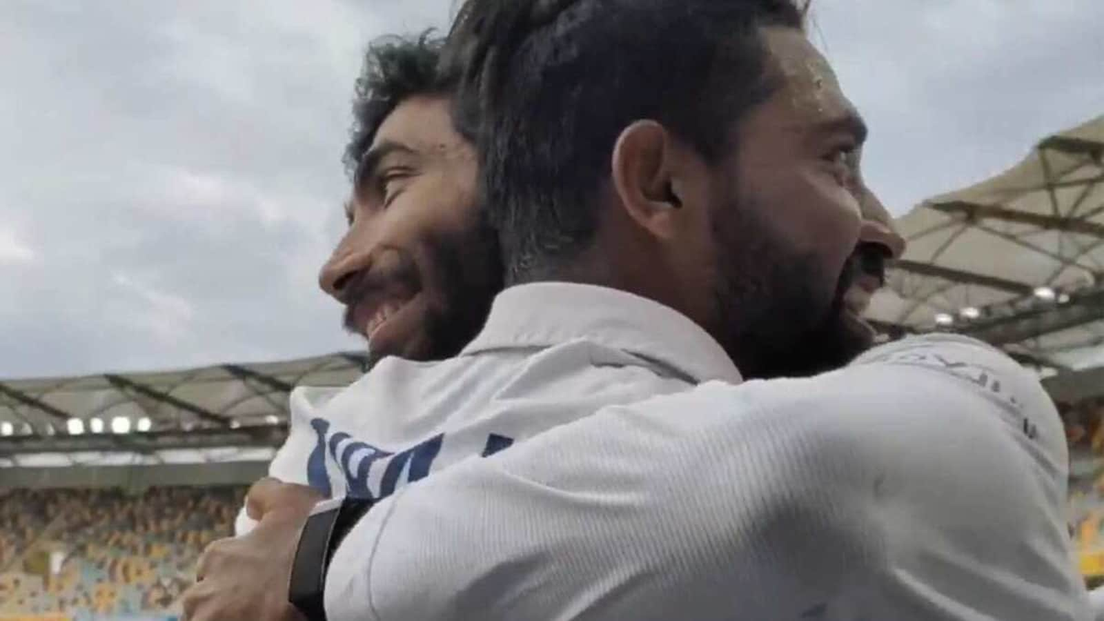 Bumrah welcomed emotional Siraj with a hug after maiden five-for
