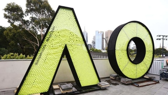 The giant Australian Open logo is seen full of tennis balls ahead of the 2019 Australian Open at Melbourne Park(Getty Images)