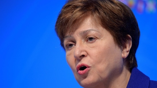 FILE PHOTO: International Monetary Fund (IMF) Managing Director Kristalina Georgieva makes remarks during a closing news conference for the International Monetary Finance Committee (IMFC), during the IMF and World Bank's 2019 Annual Meetings of finance ministers and bank governors, in Washington, U.S., October 19, 2019. REUTERS/Mike Theiler/File Photo(REUTERS)