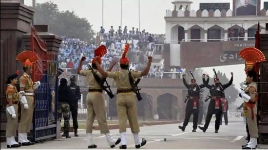 The beating the retreat ceremony, a coordinated drill of the Border Security Force and Pakistan Rangers, was held on Independence Day last year without any spectators. (PTI file photo)