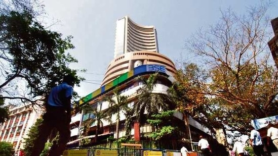 The S&P BSE Sensex slid 0.3% to 48,878.1 as of 9:50 a.m. in Mumbai, with three stocks falling for each one that rose.(HT photo)