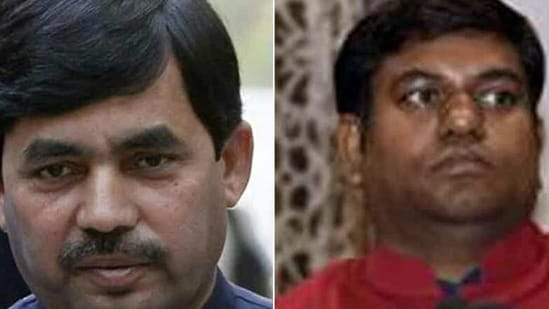 BJP's Shahnawaz Hussain (left) will replace Sushil Modi in the legislative council after the latter's election to the Rajya Sabha while VIP chief Mukesh Sahni (right) will replace Vinod Narayan Jha who had won the assembly election.(HT PHOTO)
