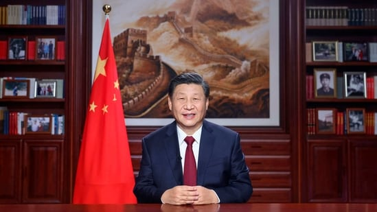Chinese President Xi Jinping delivers a New Year's address in Beijing.(AP)