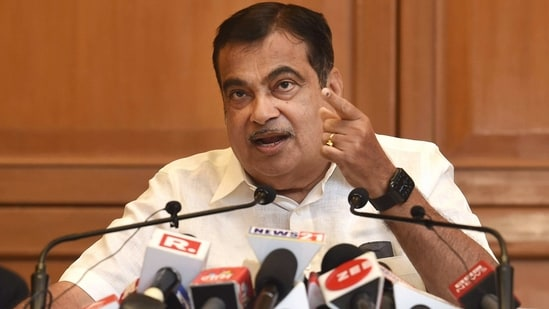 Union minister Nitin Gadkari interacts with media after a meeting on the ongoing projects in Maharashtra, in Mumbai, (PTI)