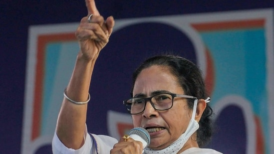 West Bengal Chief Minister Mamata Banerjee addresses a public meeting.(PTI Photo)
