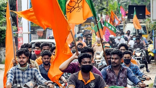 BJP supporters during a rally.(PTI)