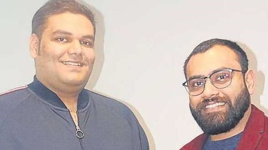 Success can be achieved by following one's dream and doing what he/she loves, say Rhino Records founders Akash Kadiyan (left) and Devashish Jindal.(HT)